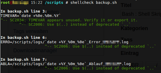 shellcheck output